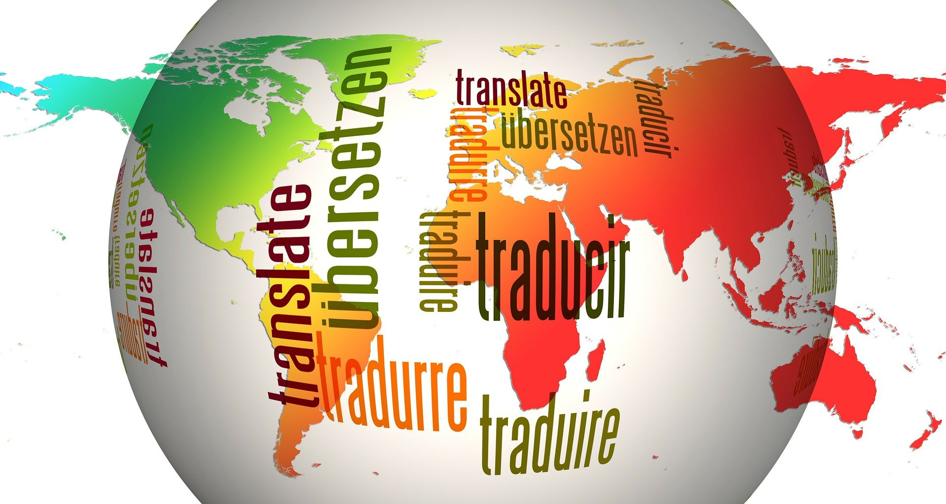 A globe with the word translate in several different languages