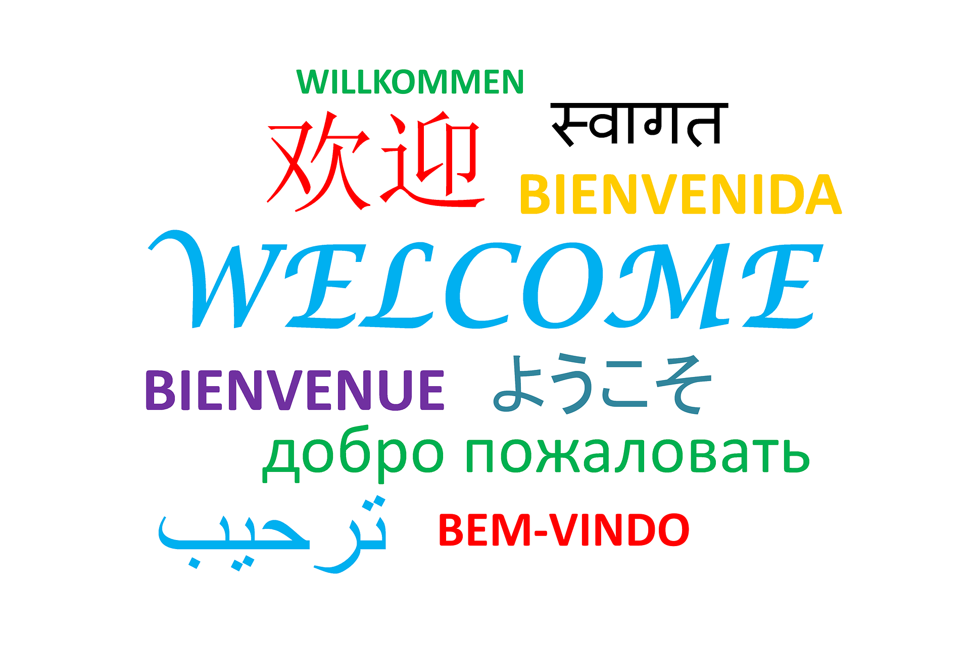 Welcome is written in many languages spoken around the world. Canada welcomes newcomers from all over the world.